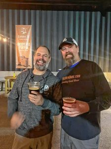 Bob Kelley (left) with brewer Matt Steinberg from Exhibit 'A' Brewing in Framingham.