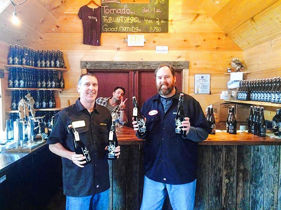 Rob Vandenabeele (left) and Bob Kelley at Tree House Brewing's shed brewery in Monson.