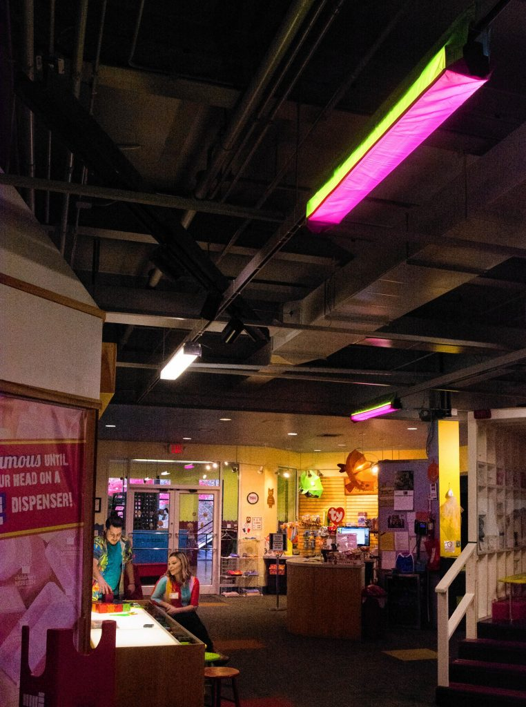 Lights are covered for Sensory Sundays at Holyoke Children's Museum for those children who have trouble tolerating bright lights.