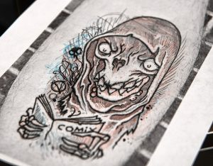 Artwork made by Eric Talbot which he is tattooing on Matt Miller.