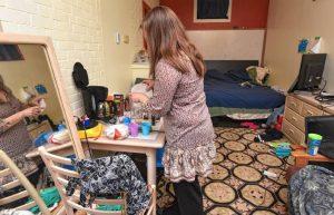 Irida Kakhtiranova in her room where she lives at the Unitarian Society of Northampton and Florence. She is a Irida Kakhtiranova, pictured in 2018 in her living space at the Unitarian Society of Northampton and Florence. She asked that her face not be shown. CAROL LOLLIS PHOTO