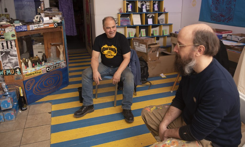Byron Coley and Ted Lee, owner of Feeding Tube Records at their record label office in Florence.