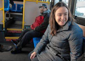 Lindsay Sabadosa during office hours on the PVTA bus on November 25, 2019.