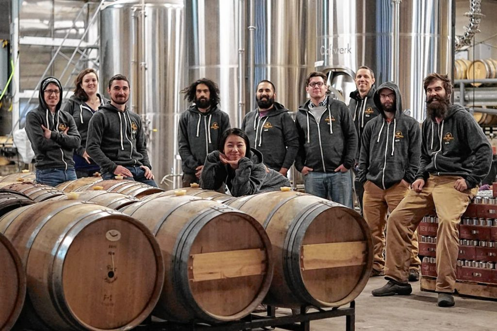 The staff of Hermit Thrush Brewery in Brattleboro. Rebecca Lotka photo.