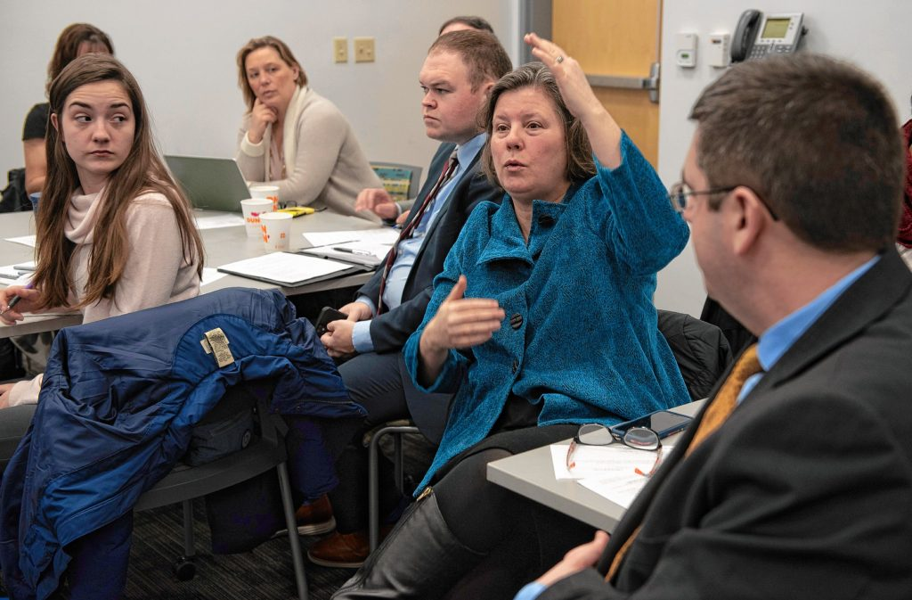 Jo Comerford asks a question at the regional recycling legislation meeting in Holyoke Monday morning.