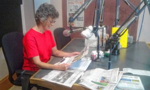 Eileen Richard, who reads the Daily Hampshire Gazette weekly.