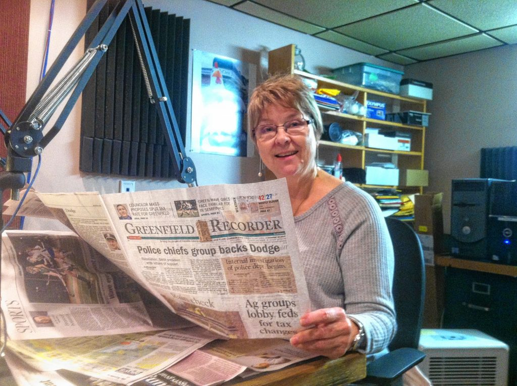 Volunteer Jeanne DelMonte reads the Greenfield Recorder each week on Valley Eye Radio.