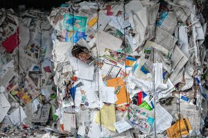Bales of paper stacked at the Springfield Materials Recycling Facility on Tuesday, Feb. 4, 2020.