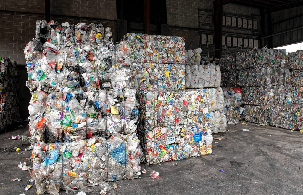 Bales of different types of plastics and paper stacked at the Springfield Materials Recycling Facility on Tuesday, Feb. 4, 2020.