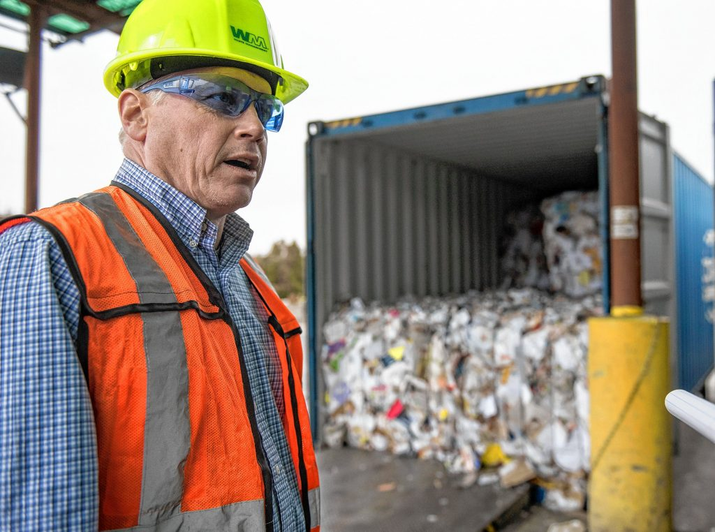 Waste Management District Manager Michael Moores gives a tour of the Materials Recycling Facility, which he manages, in Springfield on Tuesday, Feb. 4, 2020.