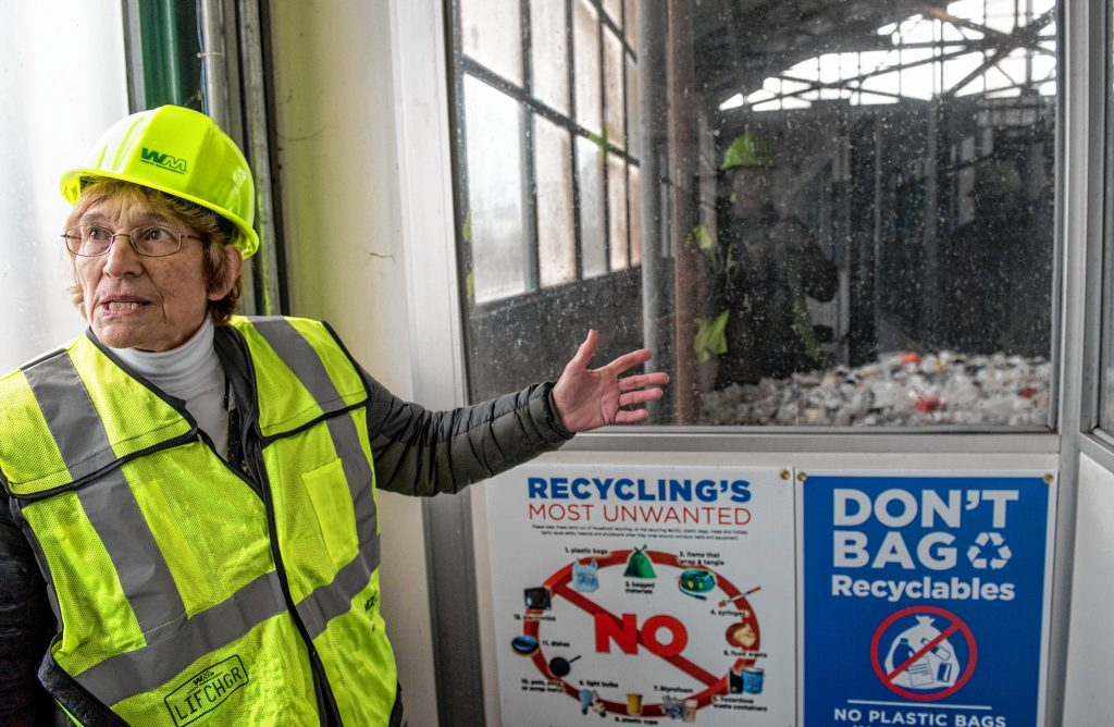 Arlene Miller, vice chair of the Springfield Materials Recycling Facility Advisory board, talks about plastics from the observation deck of the MRF on Tuesday, Feb. 4, 2020.
