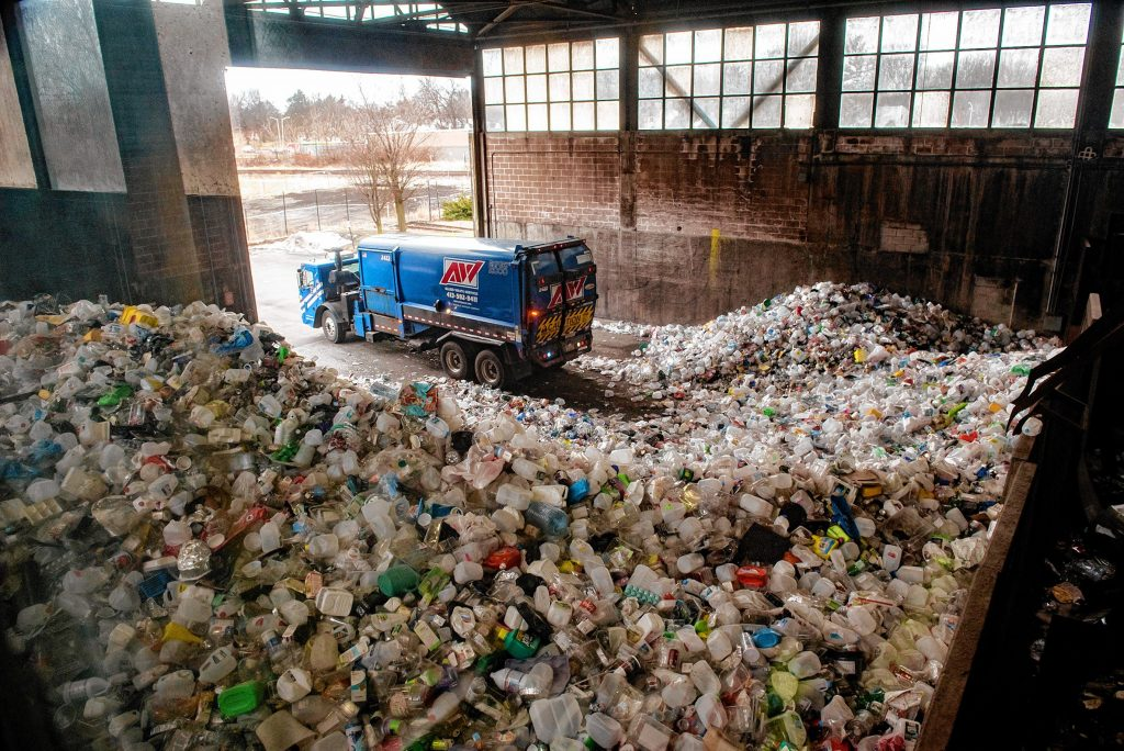 A truck makes a delivery to the Springfield Materials Recycling Facility on Tuesday, Feb. 4, 2020.