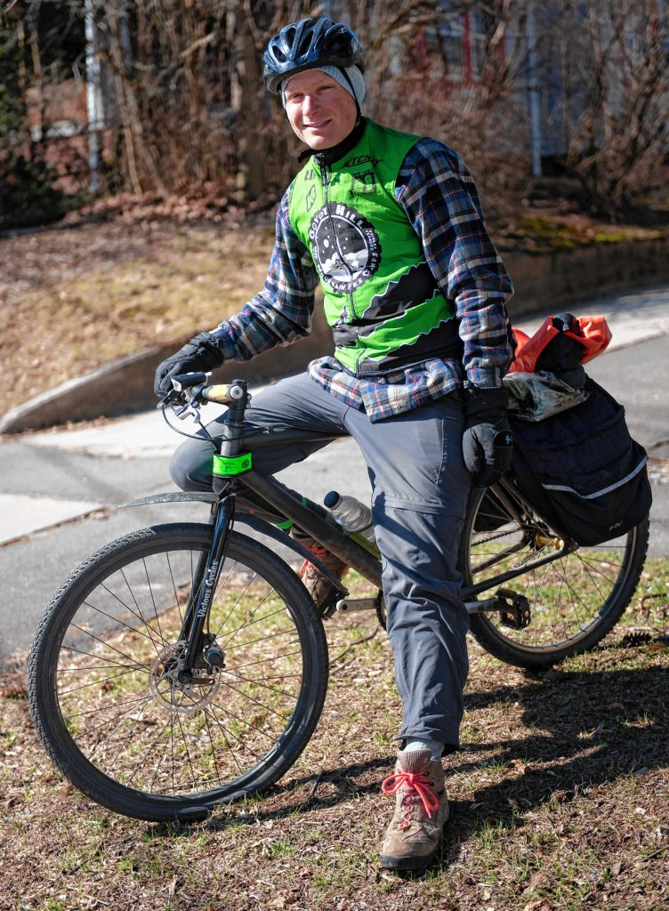 "Salem Mazzawy, of Granby, uses a bike year-round for transportation, as he does not own a car. ""I'm just far more comfortable on a bike,"" he says."