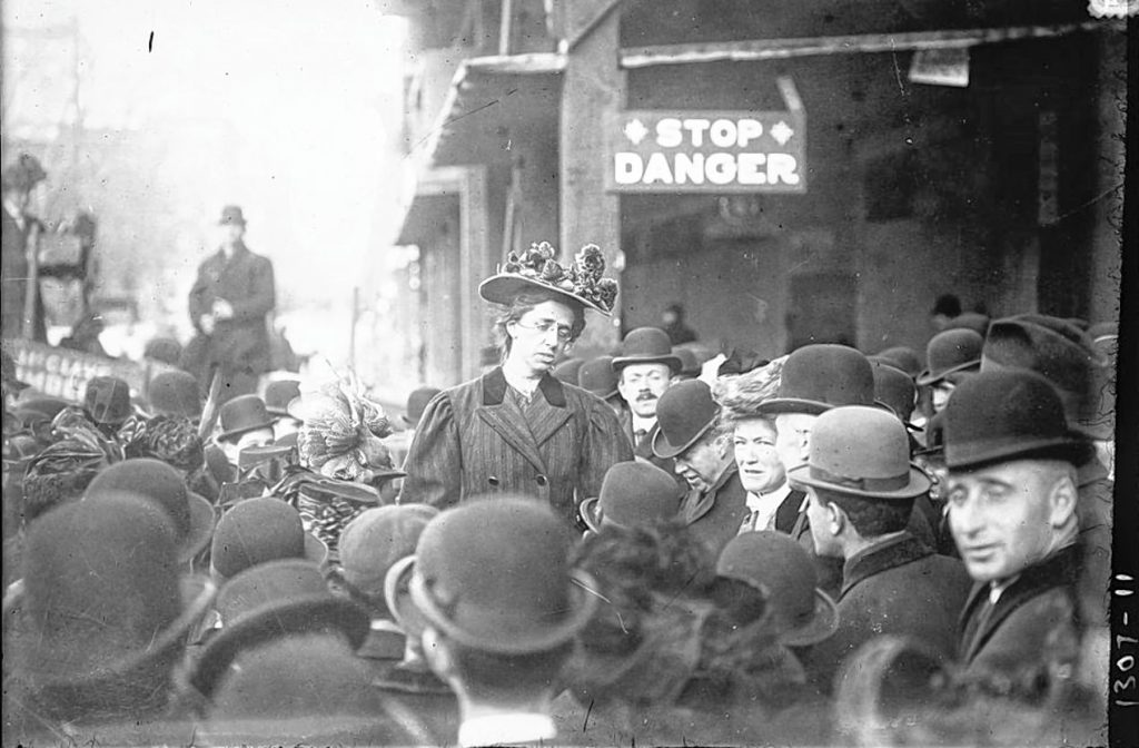 Maude Malone, February 19,1908, labor union activist, NYC, leads first US march in support of woman suffrage. From Bain News Service Collection, Library of Congress