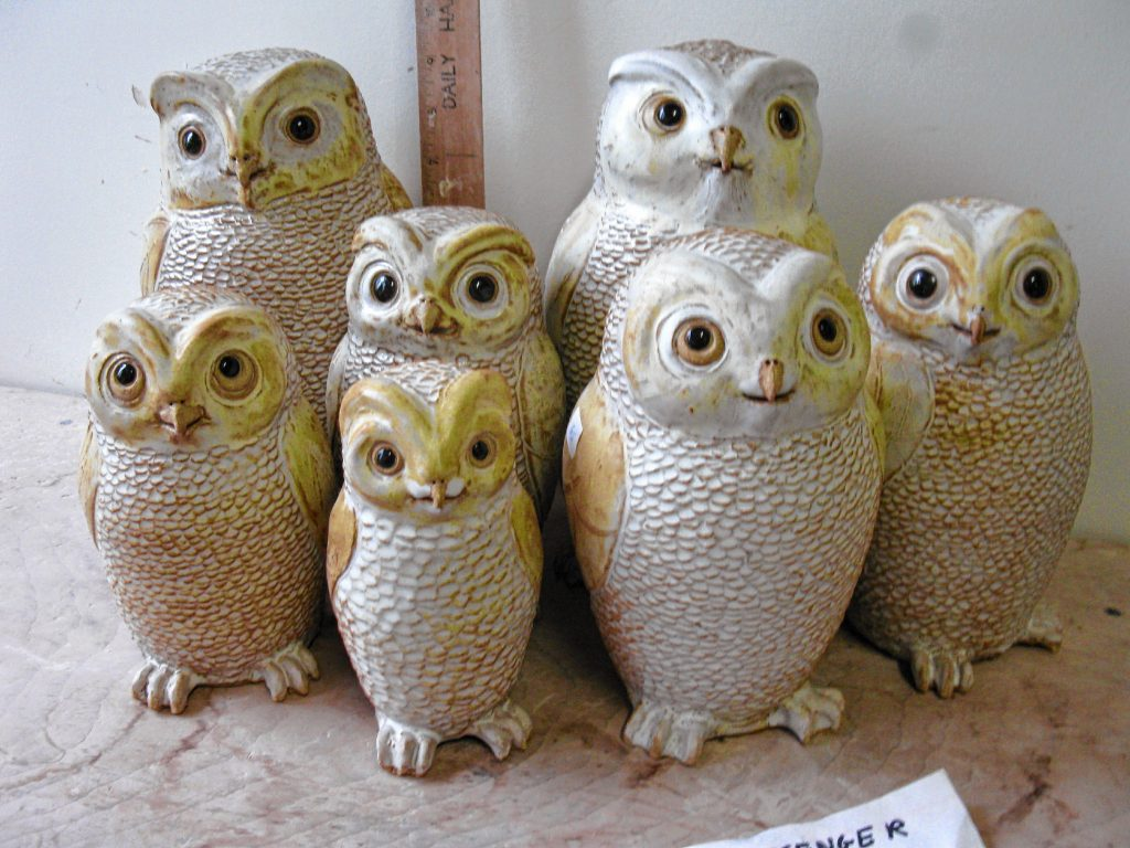 Messenger Owls made by Martha Phinney; available at the Haydenville Craft Fair.