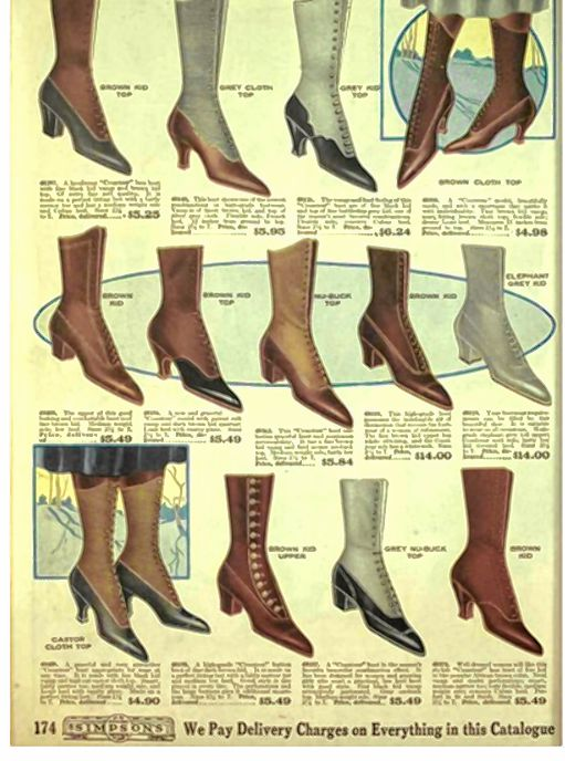 Advertisement for women's boots. Hemlines are rising, but the ankles are still covered with boots that are taller.