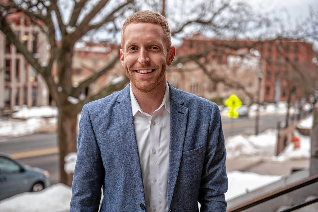 Holyoke Mayor Alex Morse photographed at City Hall on Thursday, Feb. 4, 2021.