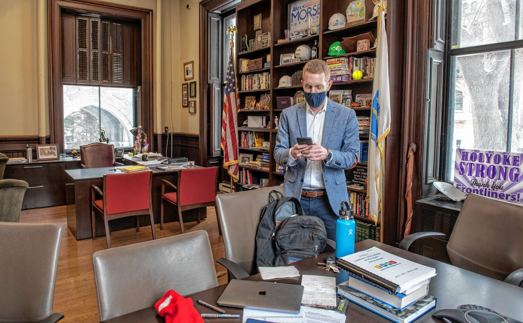 Holyoke Mayor Alex Morse photographed in his office at City Hall on Thursday, Feb. 4, 2021.