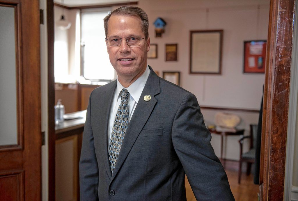 Northampton Mayor David Narkewicz photographed in his office at City Hall on Tuesday, Jan. 5, 2021.