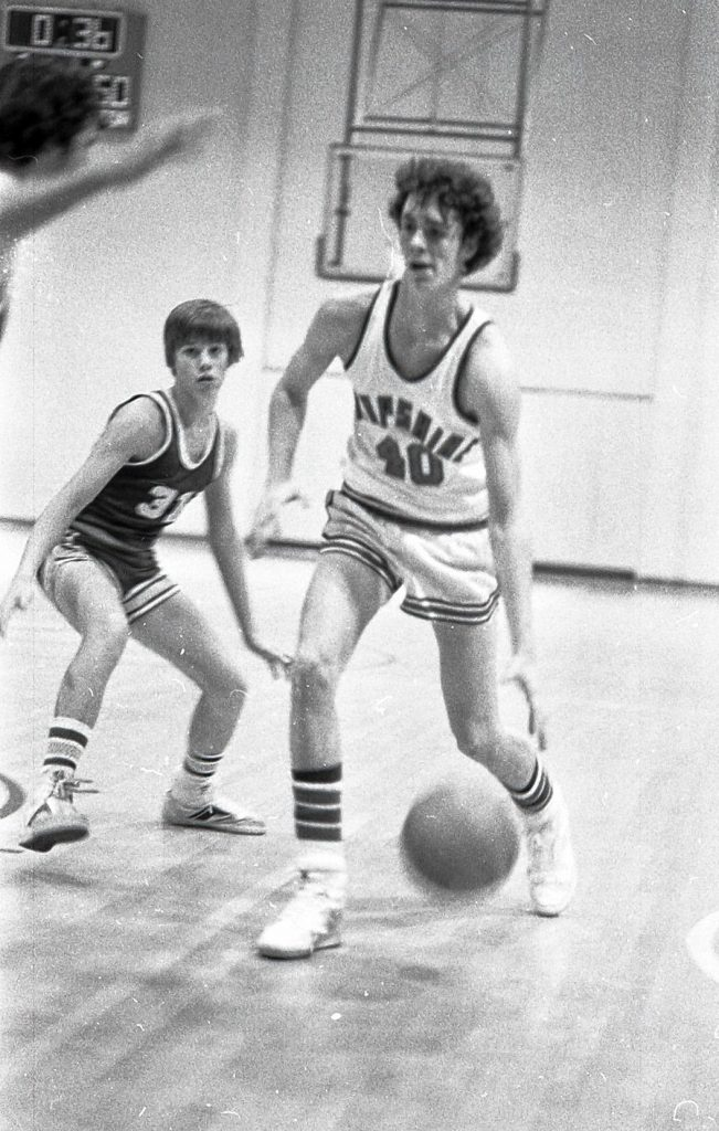 Northampton Mayor David Narkewicz, left, was a point guard for the Mohawk Regional High School boys basketball team in the 1980s. His coaches lament that he grew to 6-foot, 2-inches after graduation.