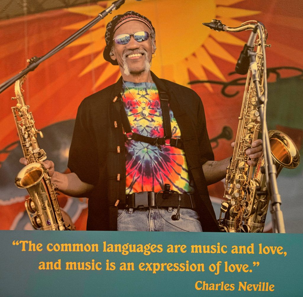 """A classic photo of the late Charles Neville greets visitors to the new Springfield exhibit about him, """"Horn Man: The Life and Musical Legacy of Charles Neville."""""""