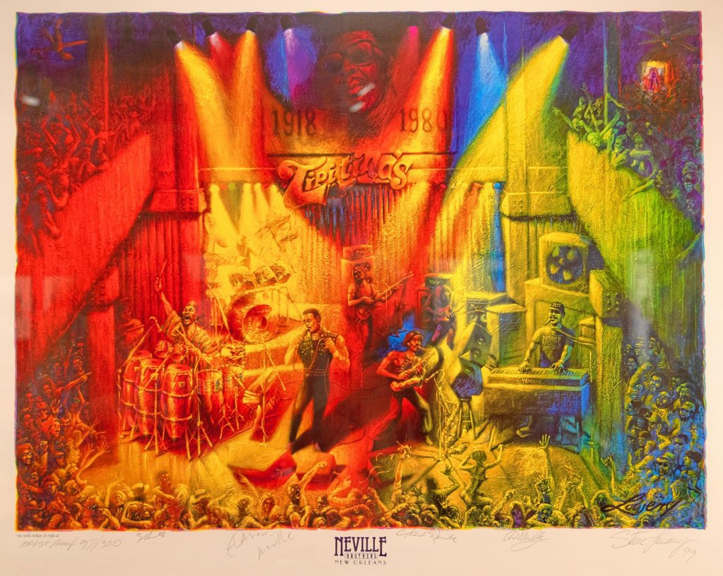 The exhibit includes this painting, of a Neville Brothers show in New Orleans, that was made into a concert poster.