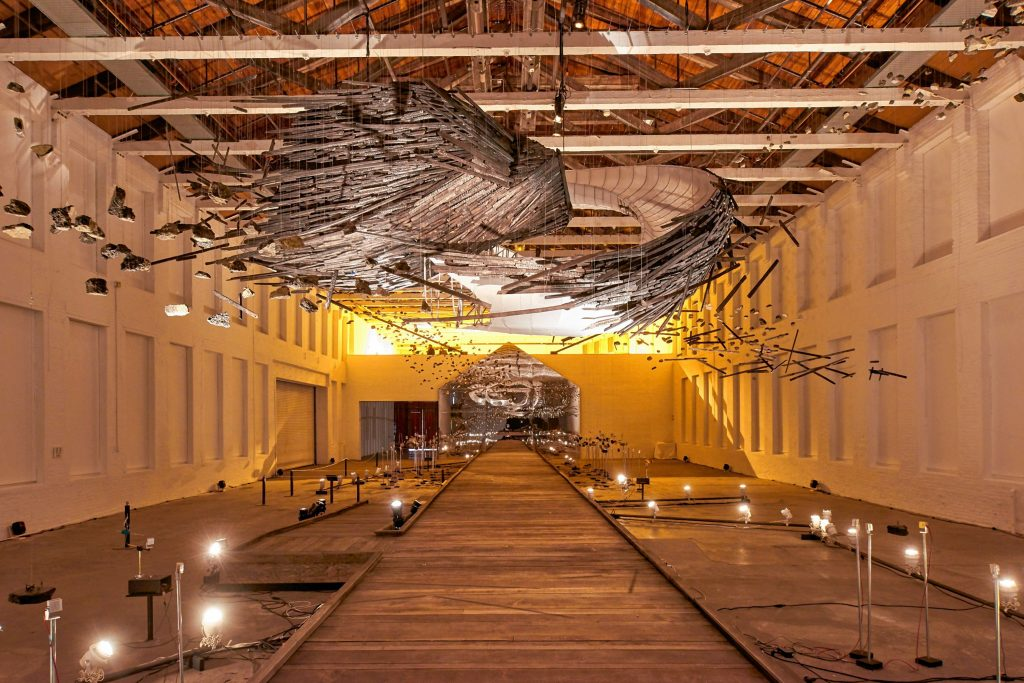 """A long-range view of """"In the Light of a Shadow"""" at MASS MoCA."""