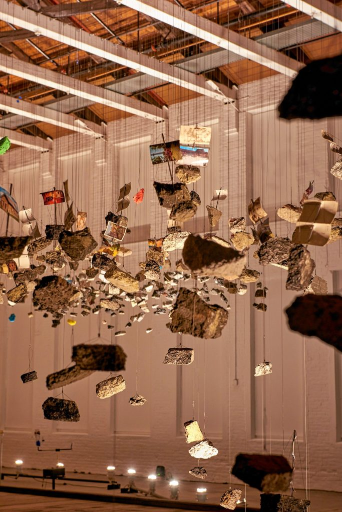 """Detail from """"In the Light of a Shadow"""" at MASS MoCA."""