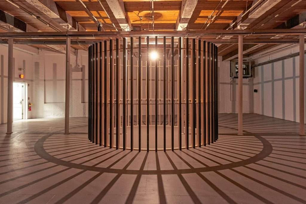 """""""Revolutions,"""" a freestanding part of Glenn Kaino's installation """"In the Light of a Shadow"""" at MASS MoCA."""