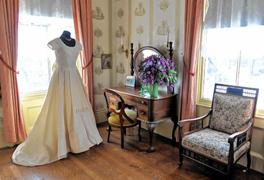 """Wistariahurst will open """"Connecting Threads,"""" on July 8, a new exhibit from the Wistariahurst Textile Collection featuring 15 wedding gowns, stories from the past, and opportunities for visitors to share their own photos and memories."""