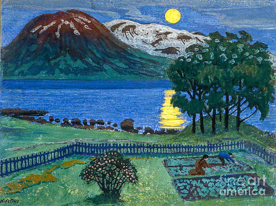 """The Moon in May,"" woodblock print by Nikolai Astrup."