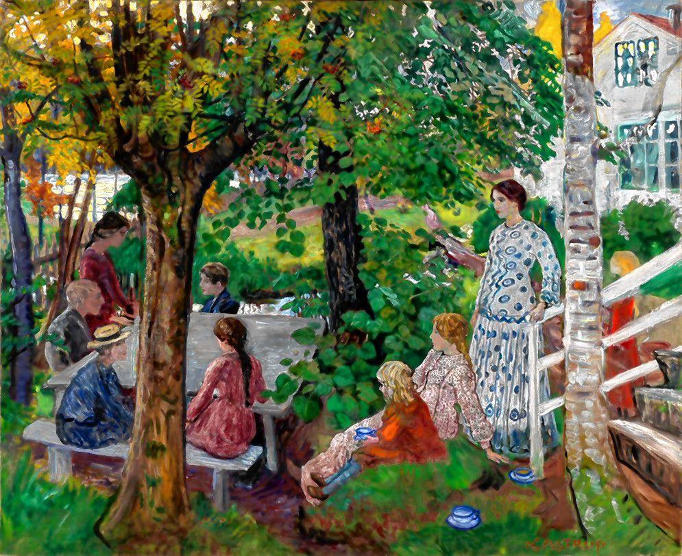 """Birthday in the Parsonage Garden,"" oil painting by Nikolai Astrup."