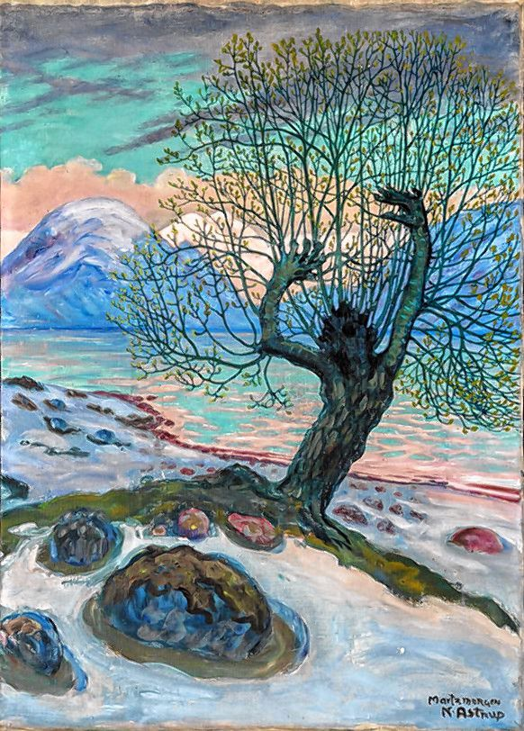 """""""A Morning in March,"""" 1920 oil painting by Nikolai Astrup."""