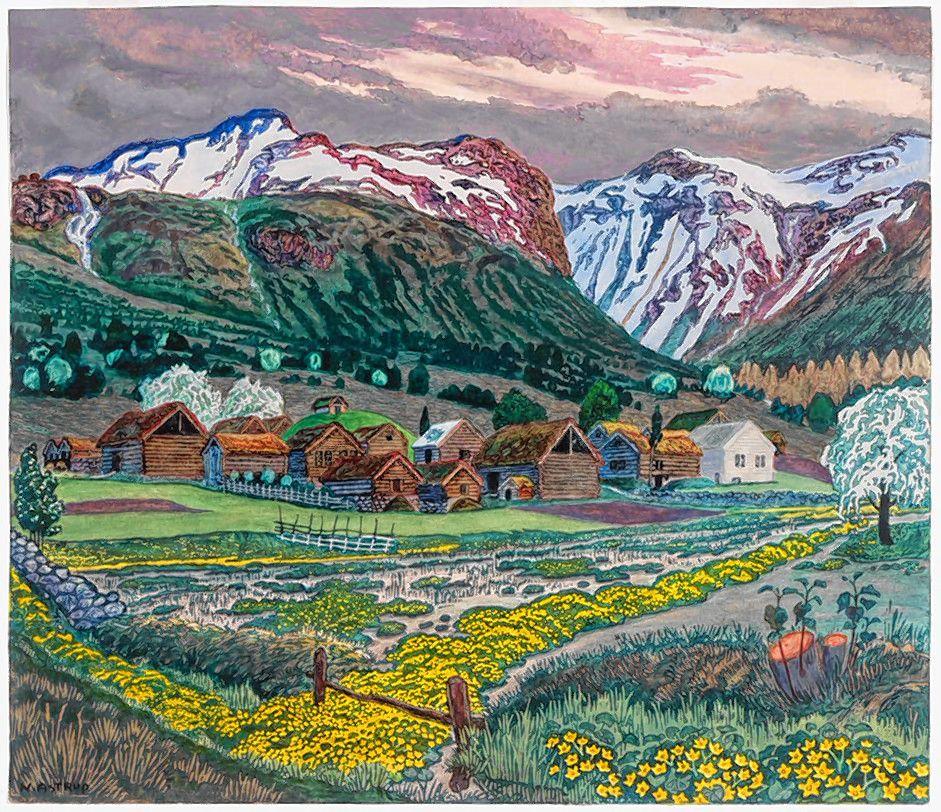 """Marsh Marigold Light,"" woodblock print by Nikolai Astrup."