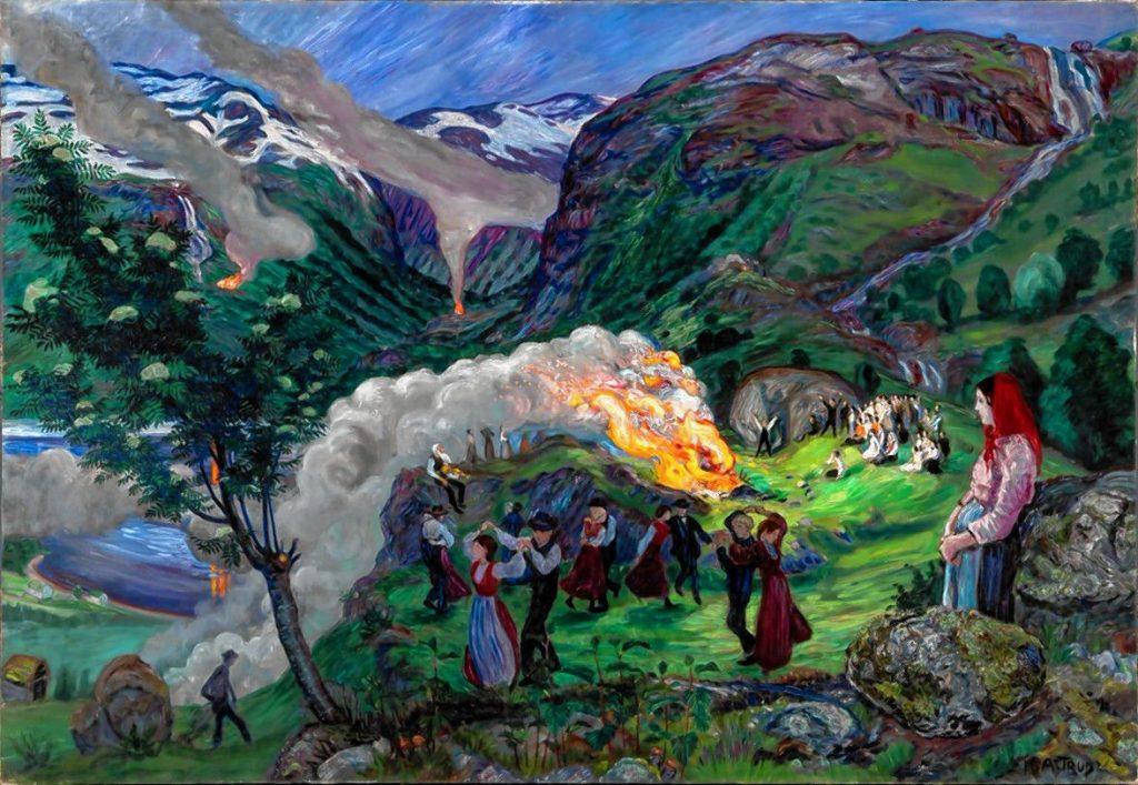 """Midsummer Eve Bonfire,"" 1917 print by Nikolai Astrup."