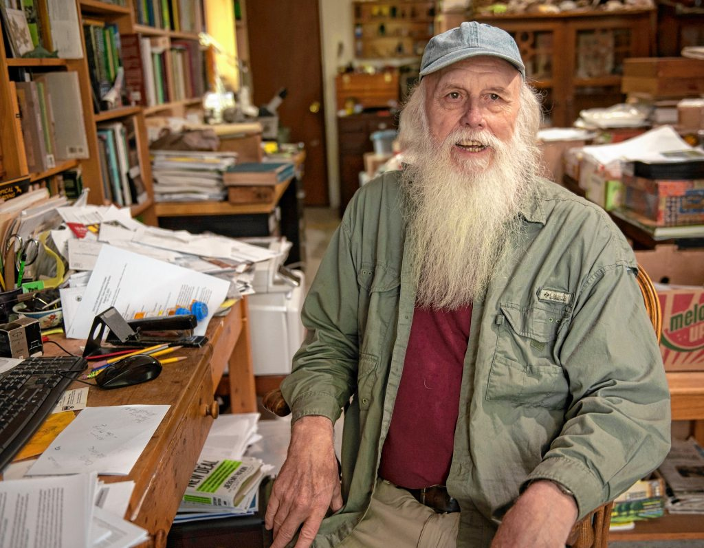 Bill Stubblefield sits in his office at his home in Wendell.