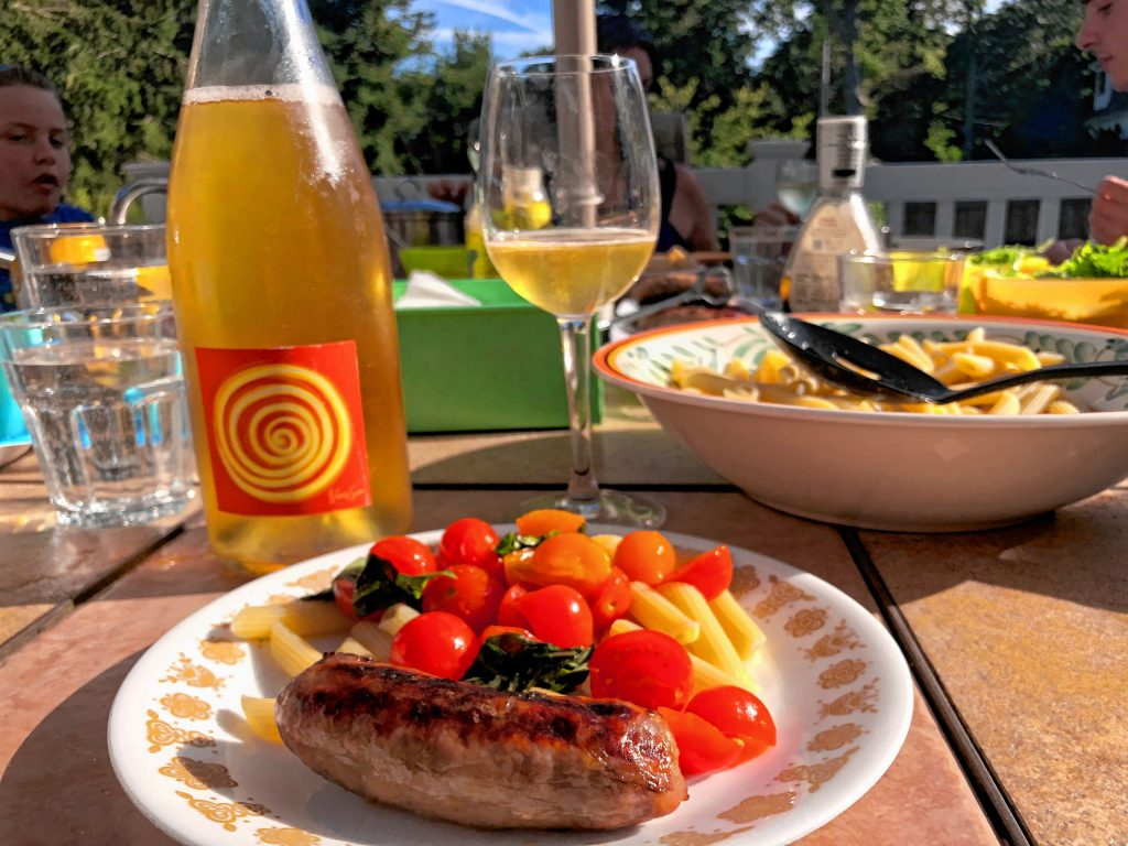 The author enjoyed this Oro di Diamanti wine with a light pasta dinner with scallops in West Yarmouth this summer.