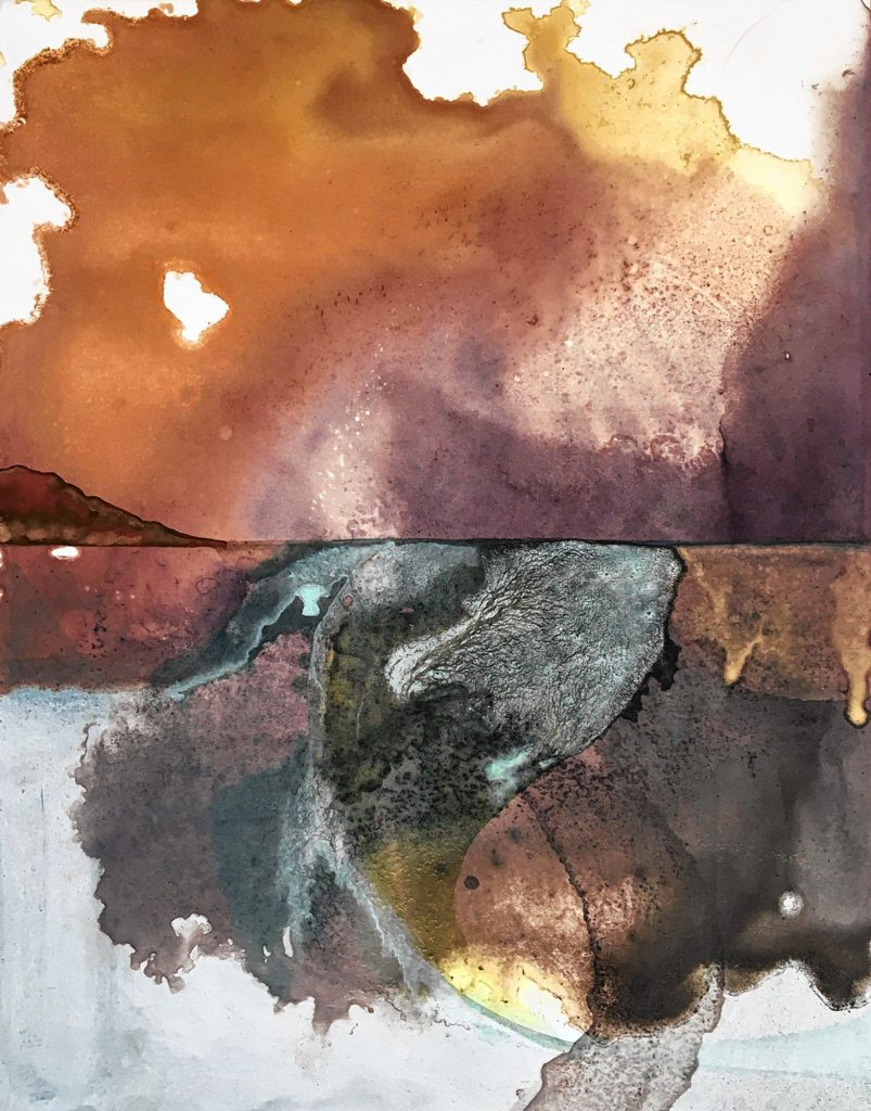 """""""Shifting Landscape (Natural Scape 5),"""" natural pigment painting on natural, handmade ink monotype by Marjorie Morgan."""