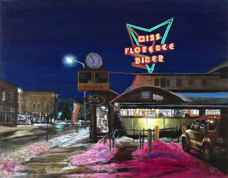 """""""Miss Florence Diner,"""" egg tempera on panel by Jeff Gola."""