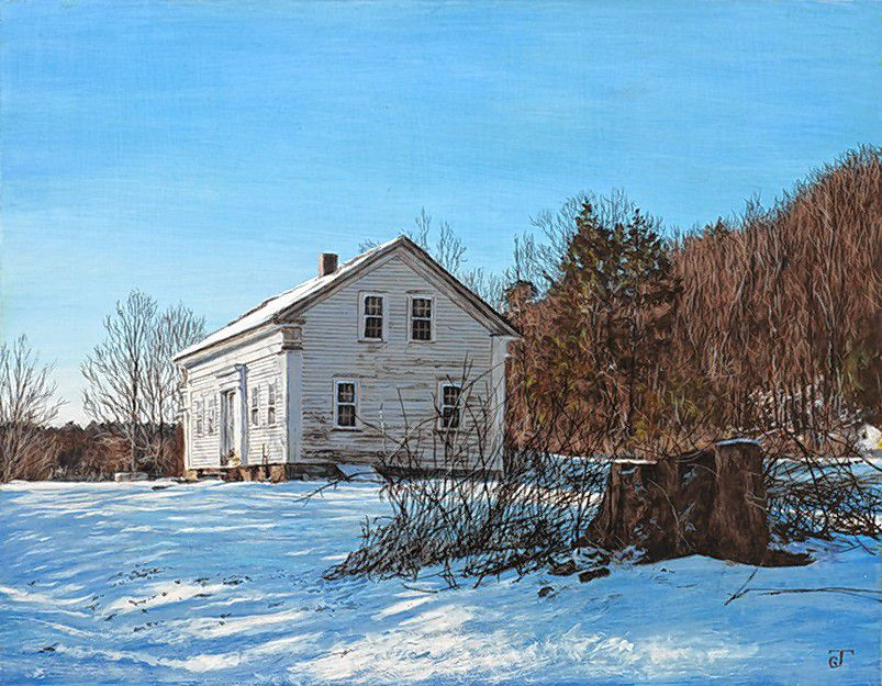 """Berkshire Vernacular,"" egg tempera on panel by Jeff Gola."