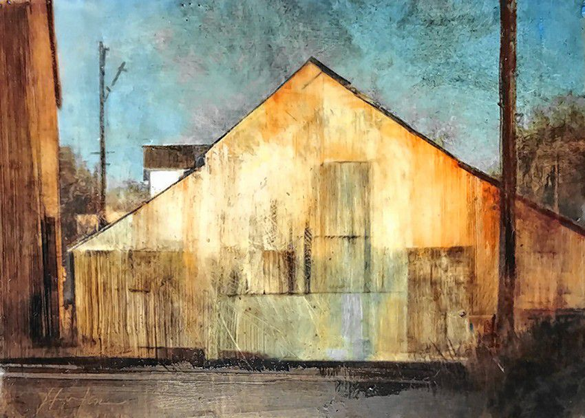 """""""City Barn,"""" oil and encaustic on panel by Charlie Hunter."""
