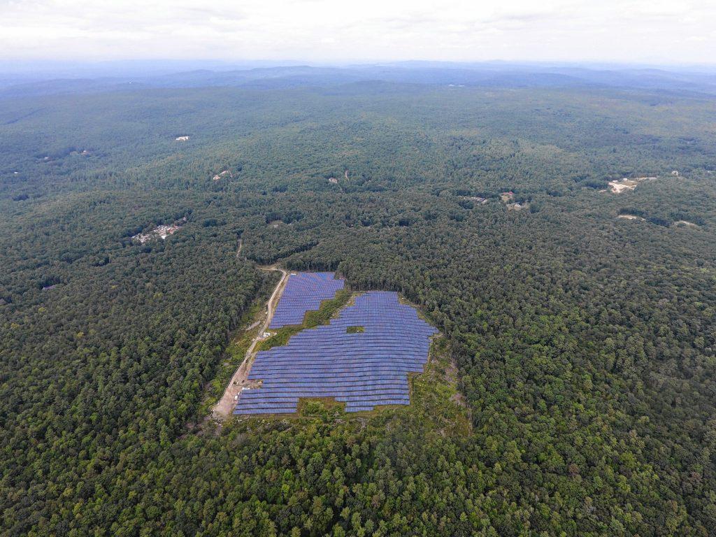 An aerial view of W.D. Cowls Inc. solar arrays in Shutesbury.