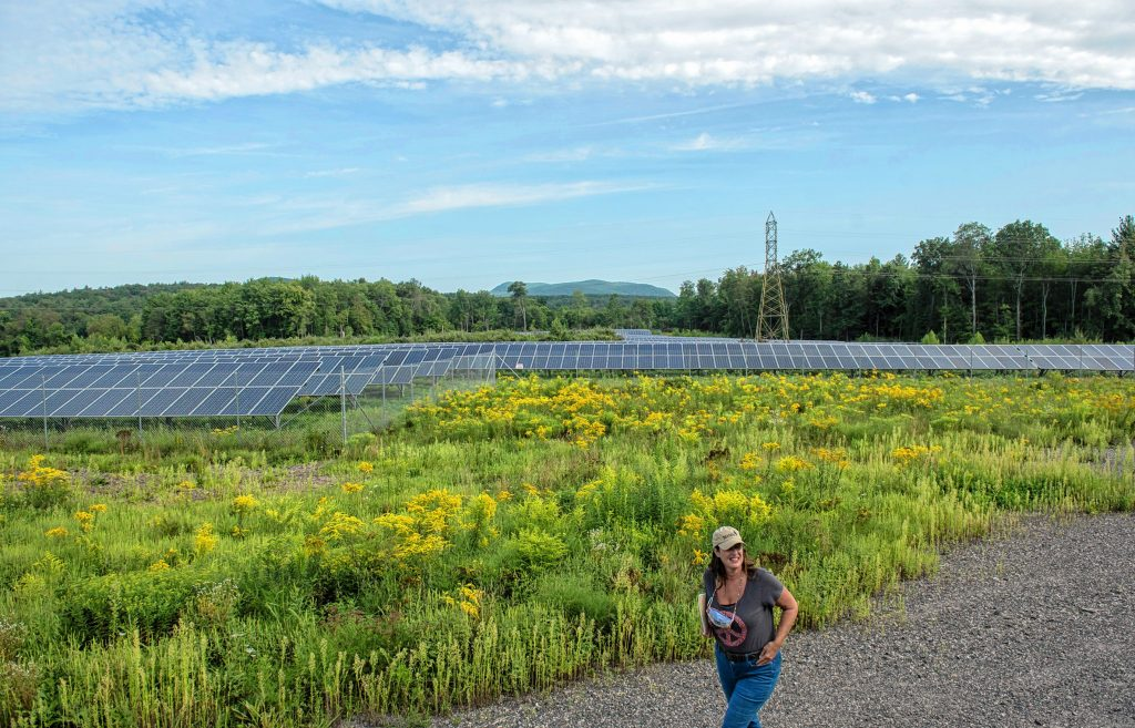 W.D. Cowls, Inc. President Cinda Jones leads a tour of an approximately 30-acre solar farm north of Pulpit Hill Road in Amherst on Monday, Aug. 16, 2021.