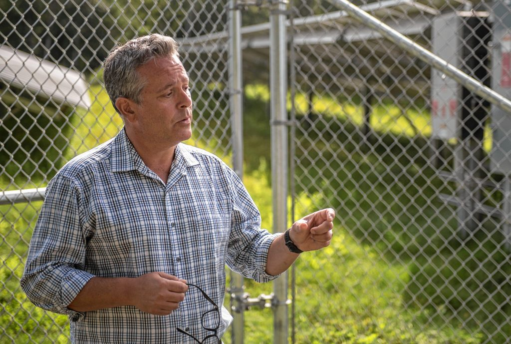 Tony Maroulis, W.D. Cowls, Inc. vice president for real estate and community development, talks about an approximately 30-acre solar farm north of Pulpit Hill Road in Amherst on Monday, Aug. 16, 2021.